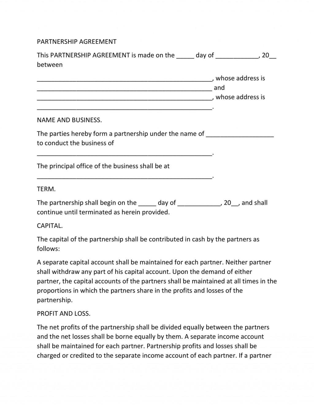 005 Impressive Free Busines Partnership Agreement Template Idea  Online Nz DownloadLarge