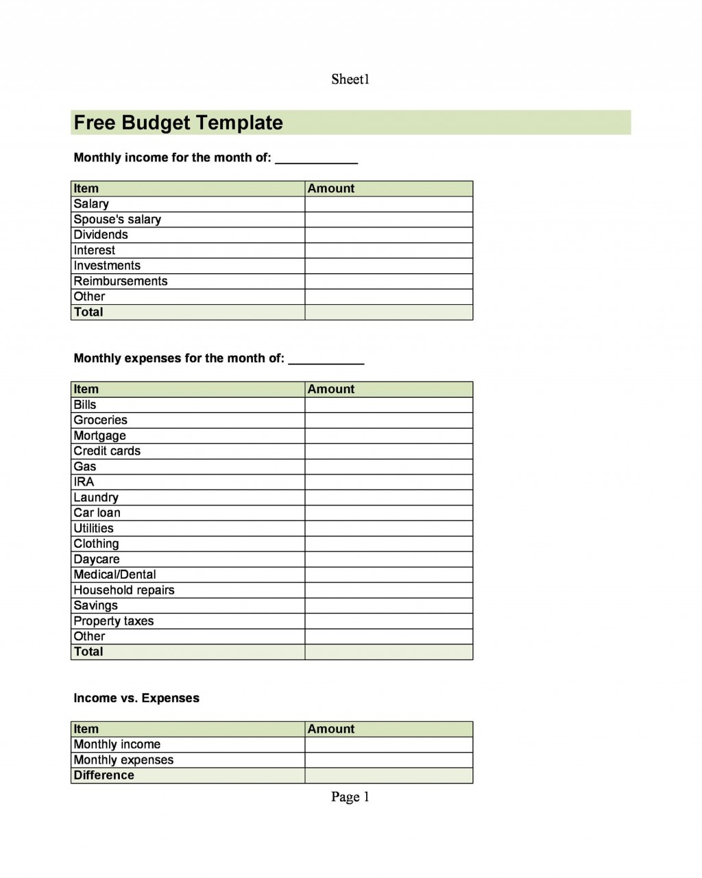 005 Impressive Free Monthly Budget Template Pdf High Resolution  Fillable Household WorksheetLarge