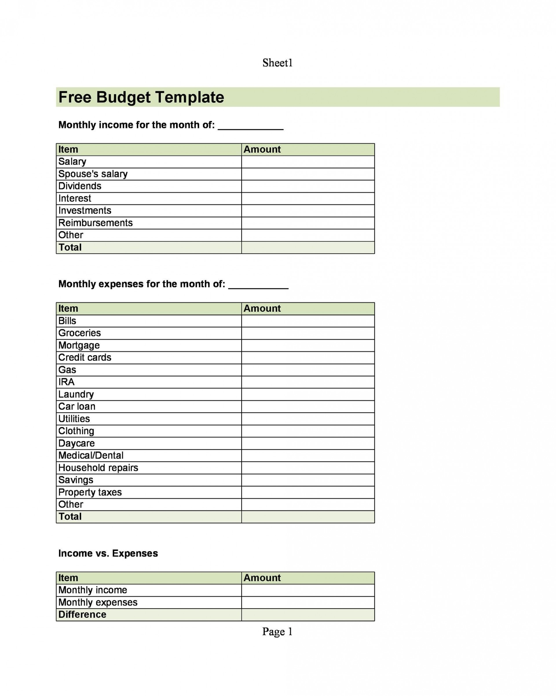 005 Impressive Free Monthly Budget Template Pdf High Resolution  Fillable Household Worksheet1920