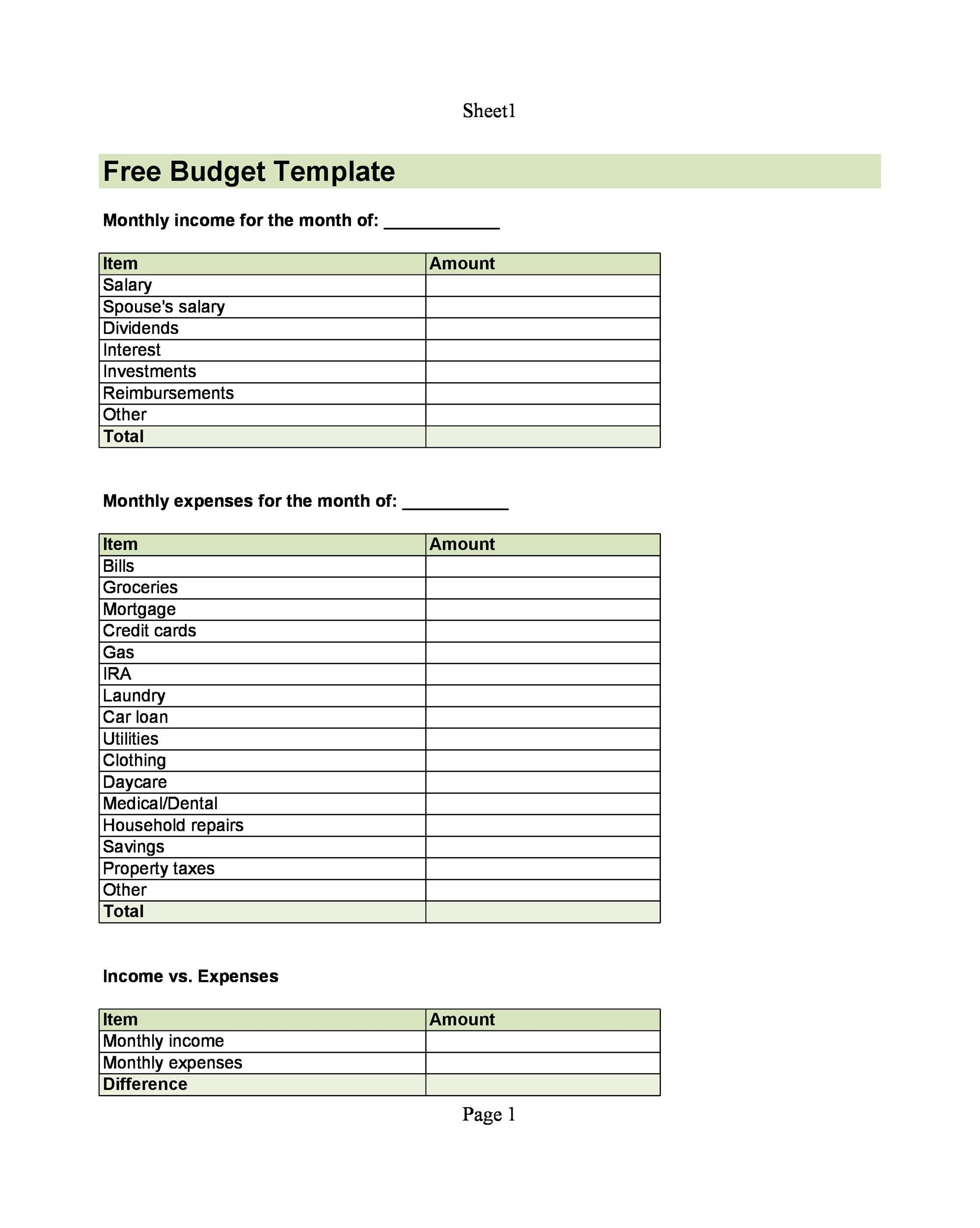 005 Impressive Free Monthly Budget Template Pdf High Resolution  Fillable Household WorksheetFull