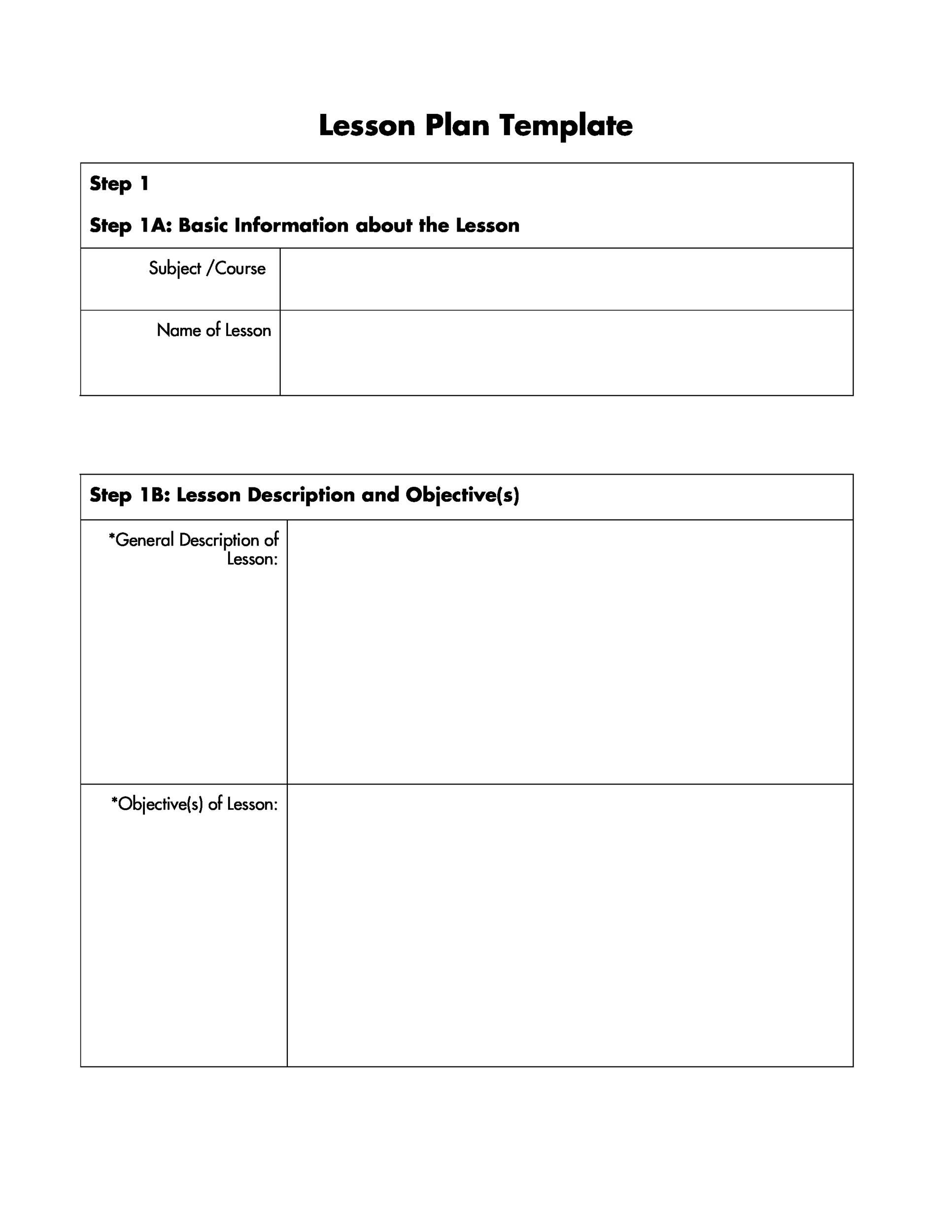 005 Impressive Free Printable Lesson Plan Template Blank Image  FormatFull