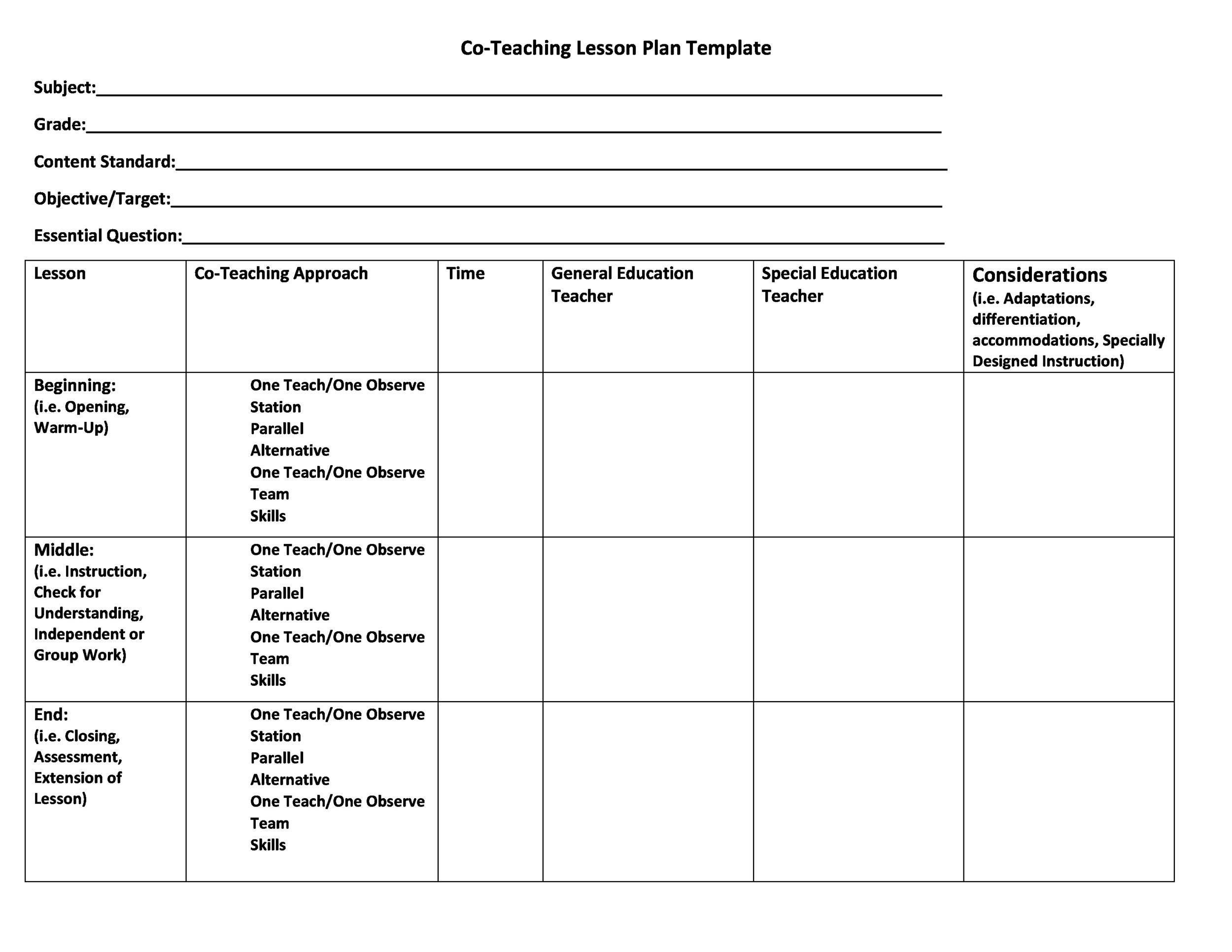 005 Impressive Free Printable Lesson Plan Template For Elementary Teacher High Definition  TeachersFull