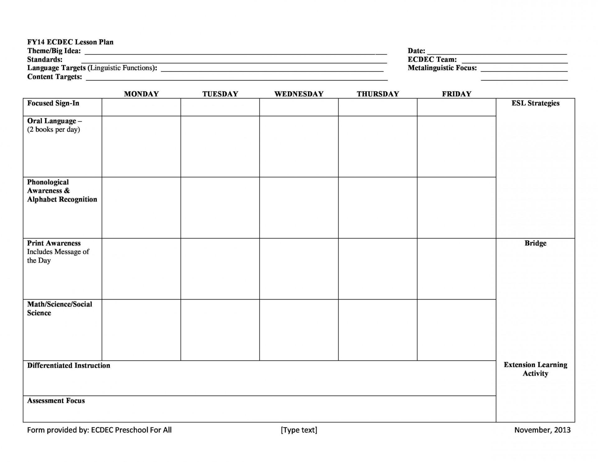 005 Impressive Free Printable Lesson Plan Template Example  Preschool Weekly For Kindergarten1920