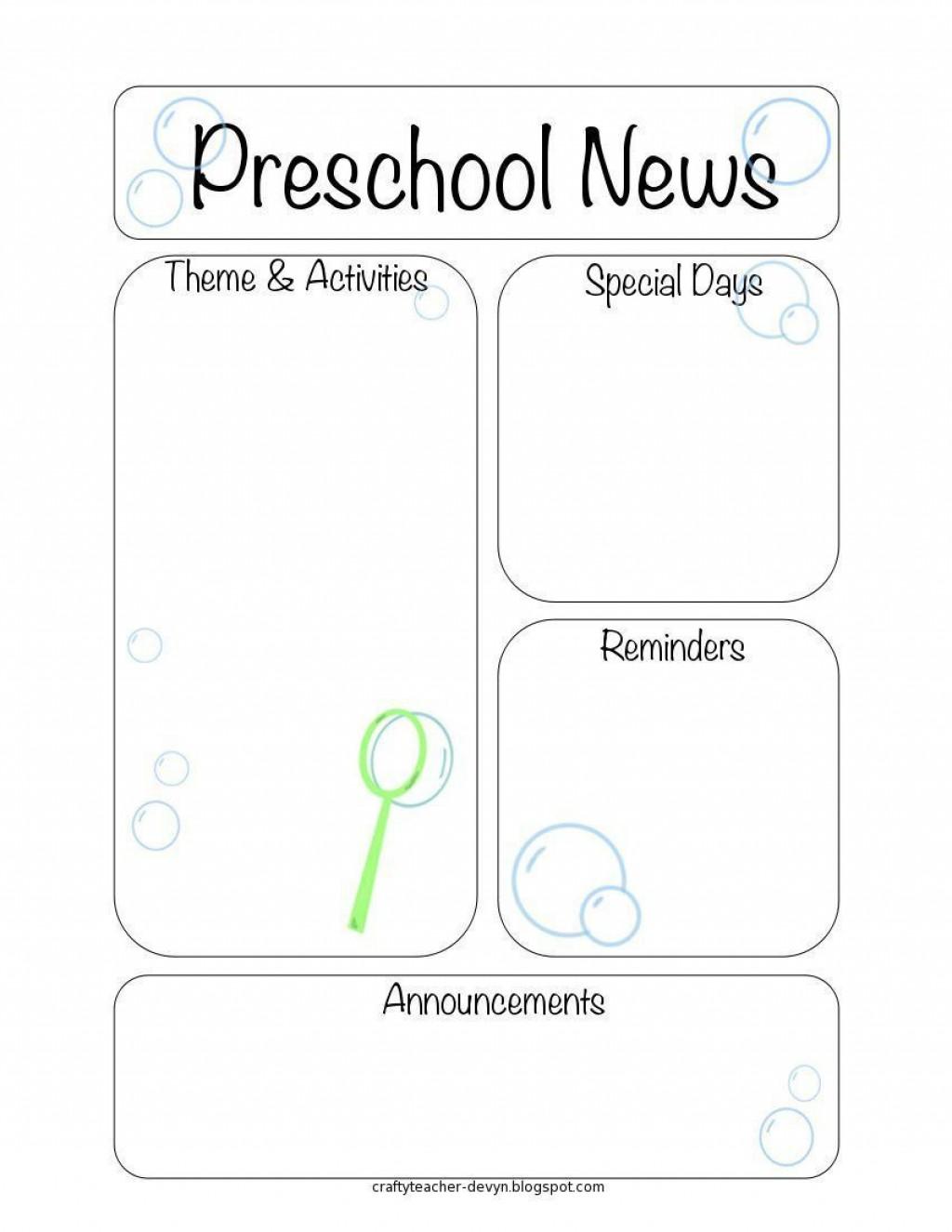 005 Impressive Pre K Newsletter Template Sample  Templates Free Printable ClassroomLarge