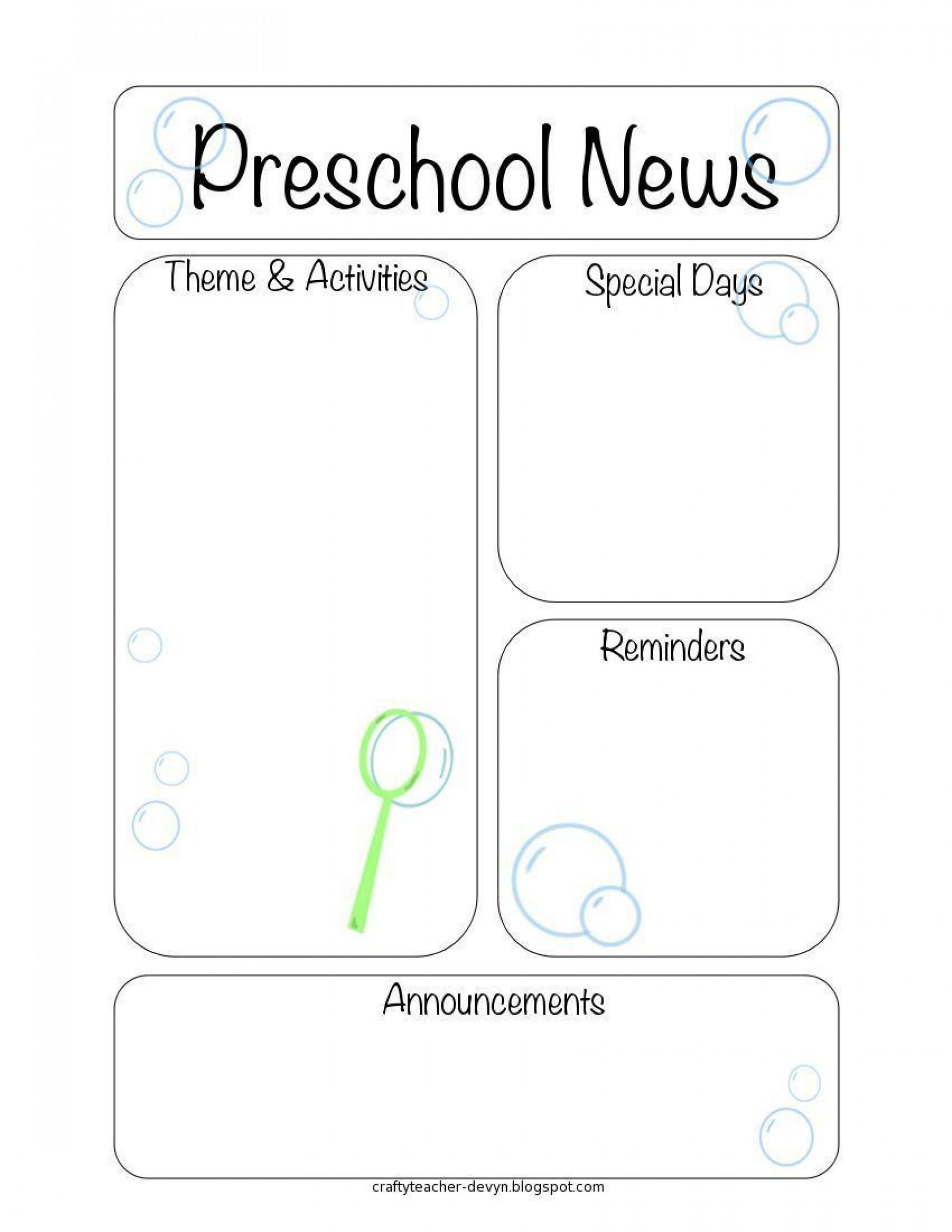 005 Impressive Pre K Newsletter Template Sample  Templates Free Printable Classroom1920