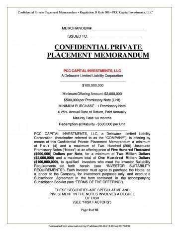 005 Impressive Private Placement Memorandum Template Real Estate High Definition 360