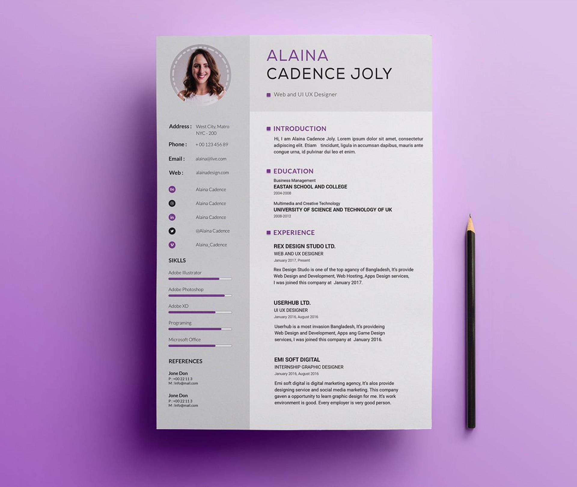 005 Impressive Professional Resume Template 2018 Free Download Idea 1920