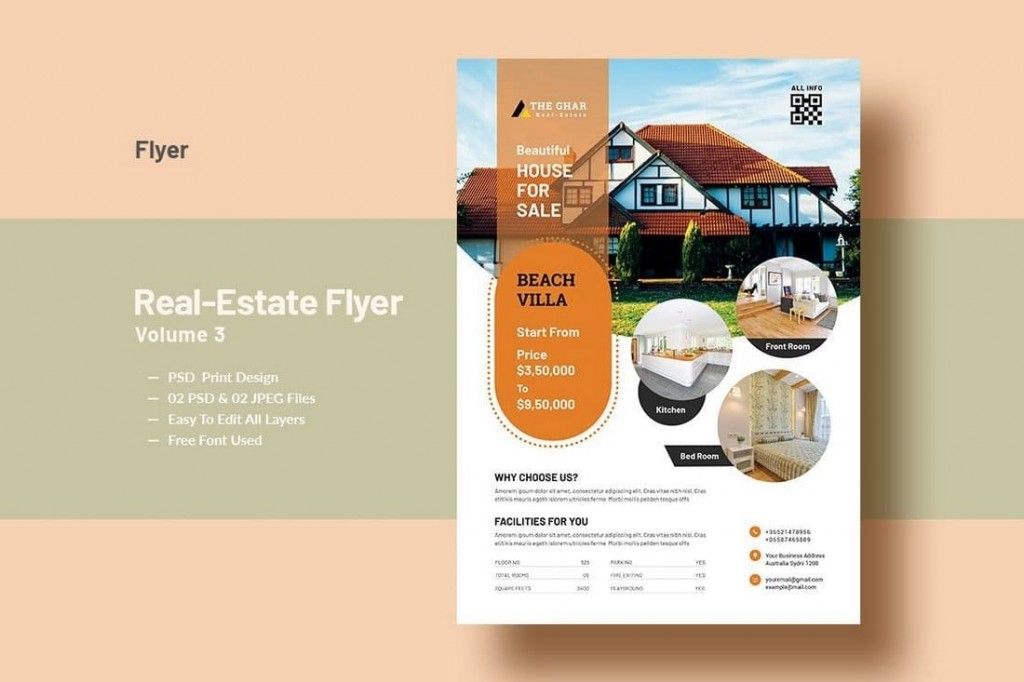 005 Impressive Real Estate Marketing Flyer Template Free Example Large