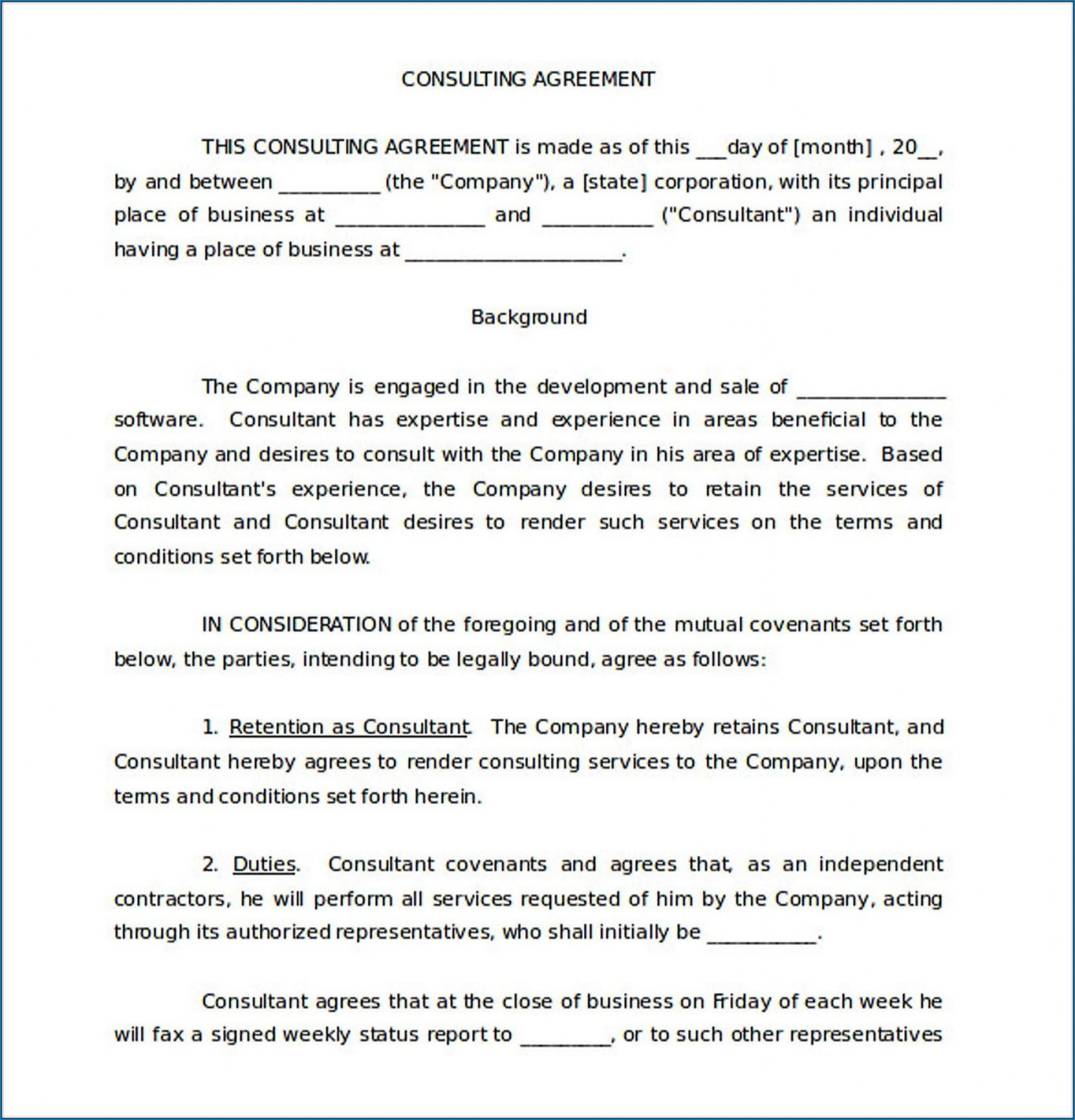 005 Impressive Simple Consulting Agreement Template Inspiration  Free Uk Pdf1920