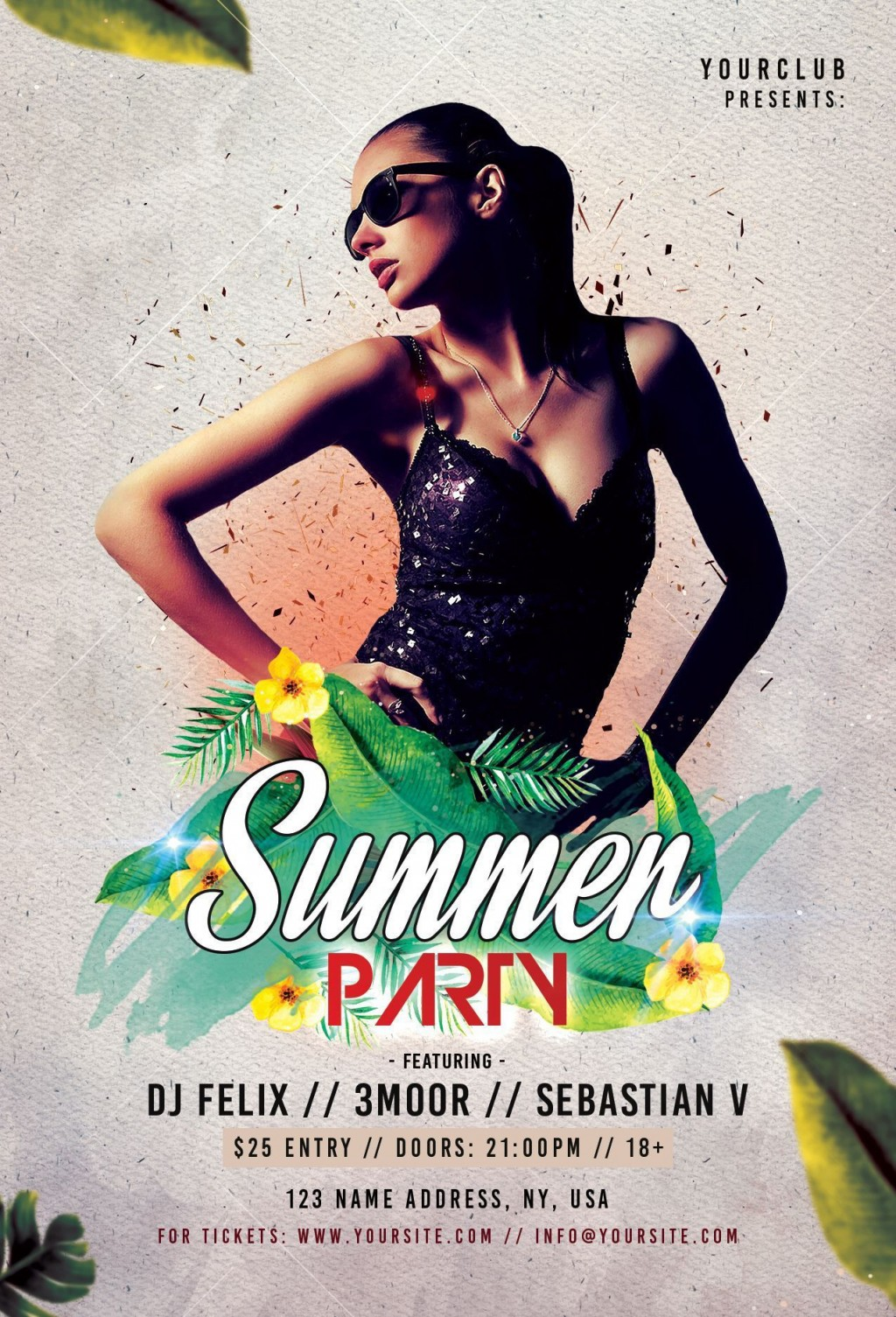 005 Impressive Summer Party Flyer Template Free Download Highest Clarity Large