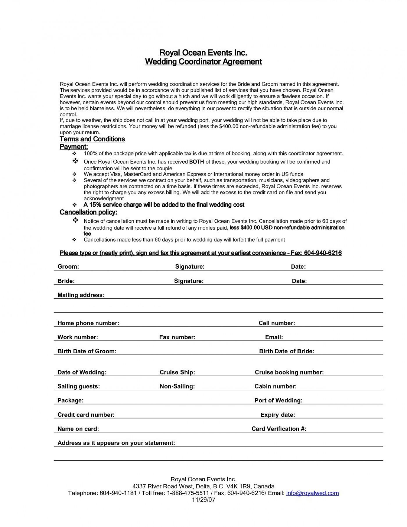 005 Impressive Wedding Planner Contract Template Picture  Uk Australia1400