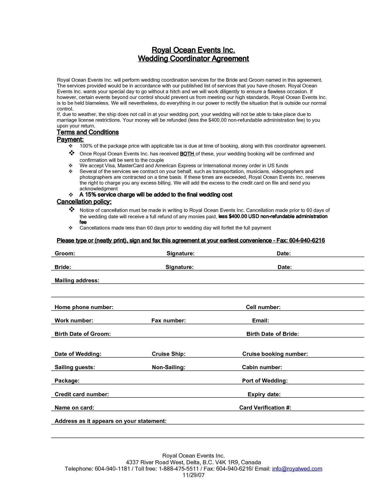 005 Impressive Wedding Planner Contract Template Picture  Word Planning Coordinator FreeFull