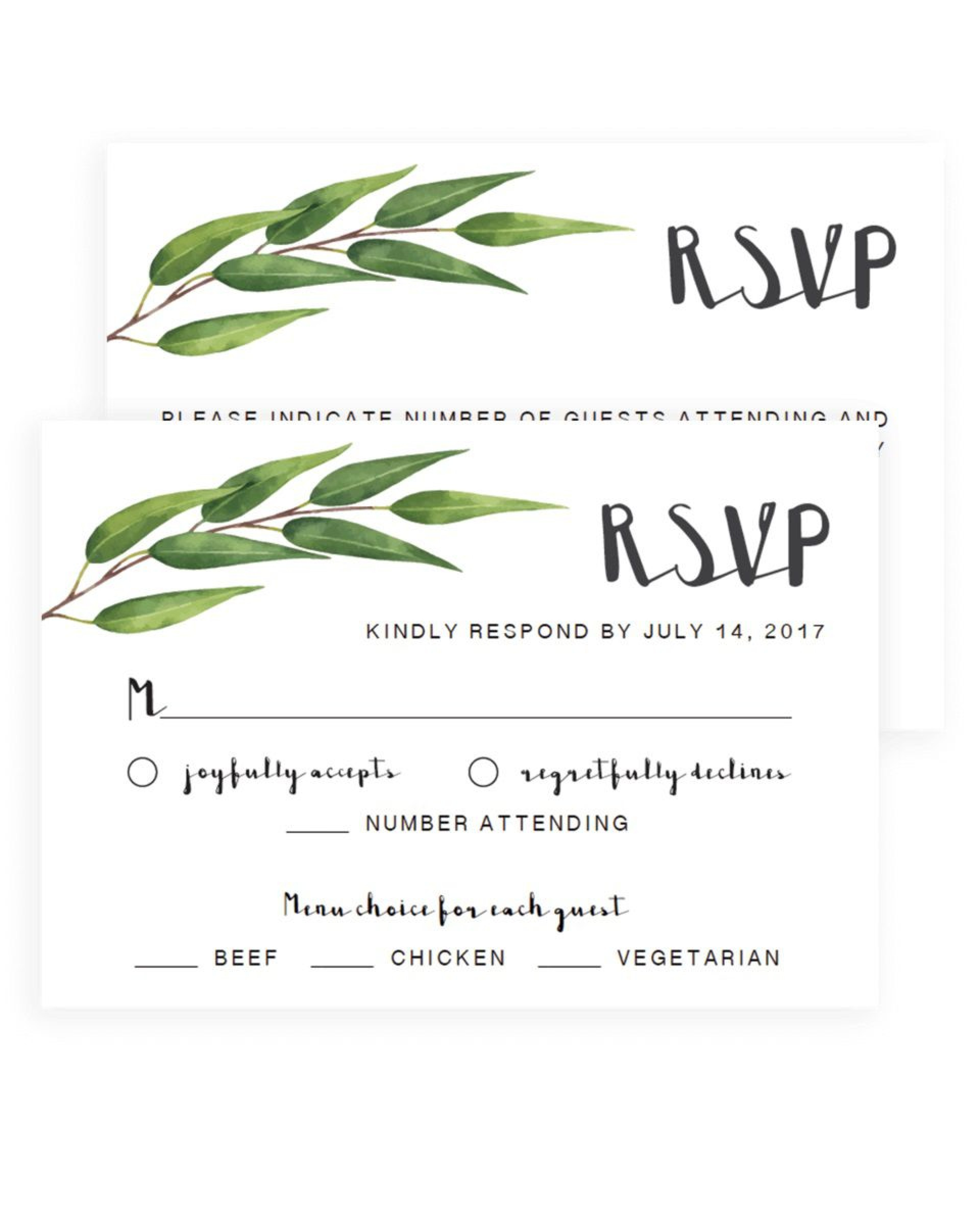 005 Impressive Wedding Rsvp Card Template Concept  Templates Invitation Menu Free Printable1920