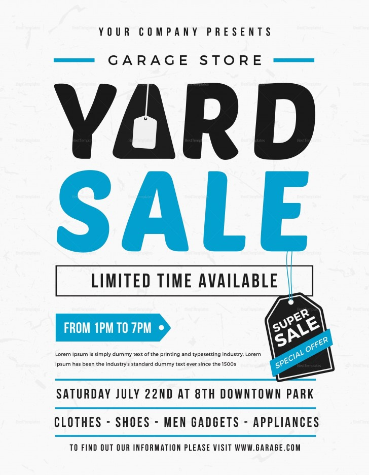 005 Impressive Yard Sale Flyer Template Design  Free Garage Microsoft Word728