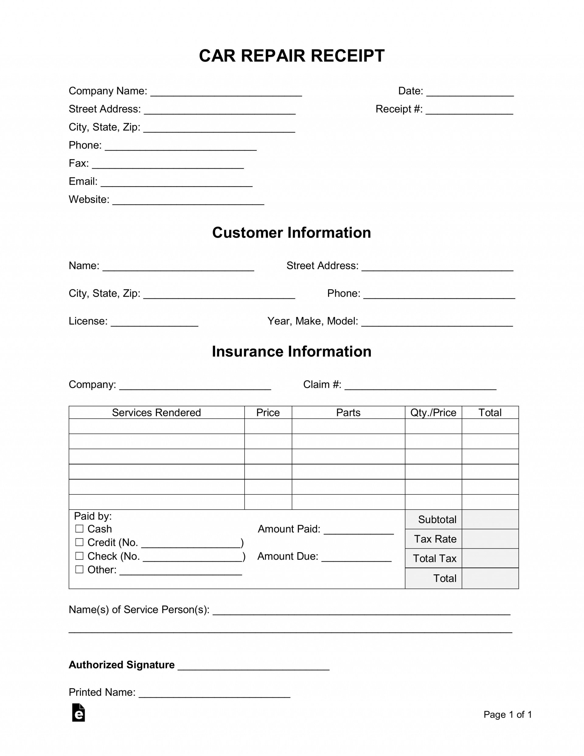 005 Incredible Auto Repair Invoice Template Pdf High Definition  Free Form Receipt1920