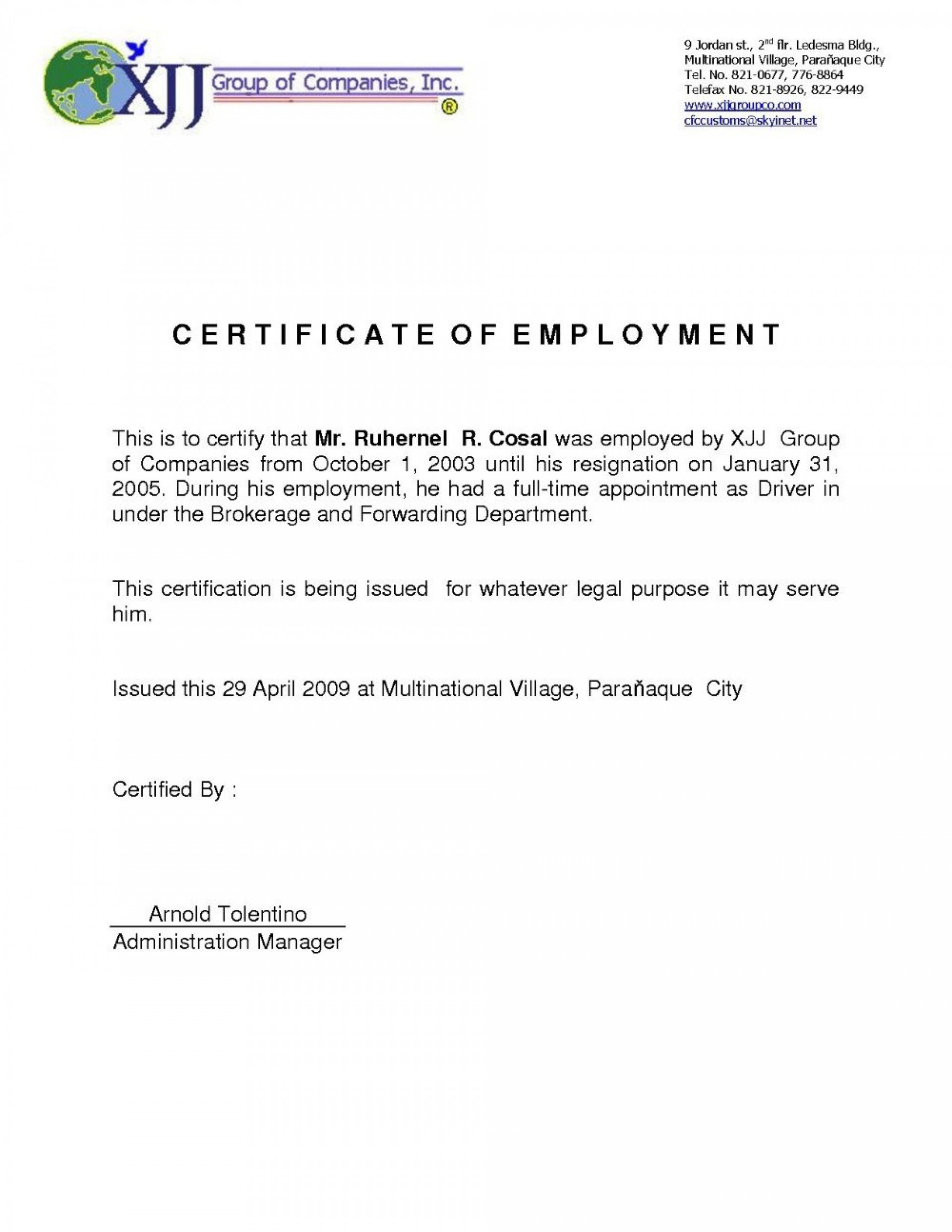 005 Incredible Certificate Of Employment Template Highest Clarity  Nz Sample Word Format Free1920