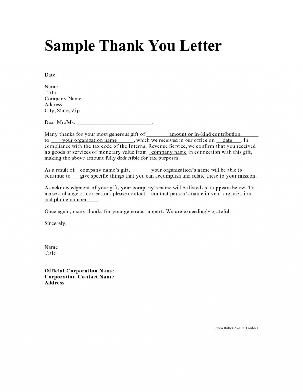 005 Incredible Donor Thank You Letter Template Concept  Donation For Church CharitableLarge