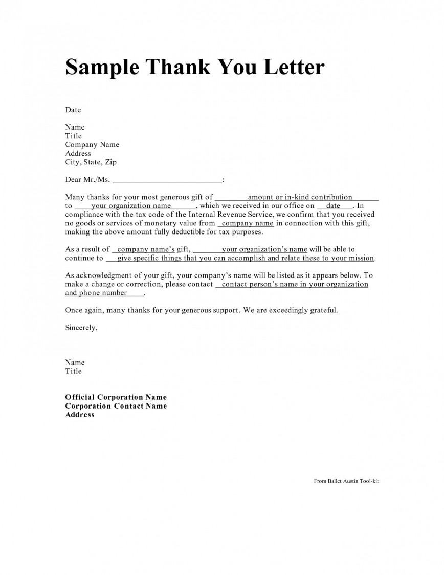 005 Incredible Donor Thank You Letter Template Concept  Donation Nonprofit For School Church
