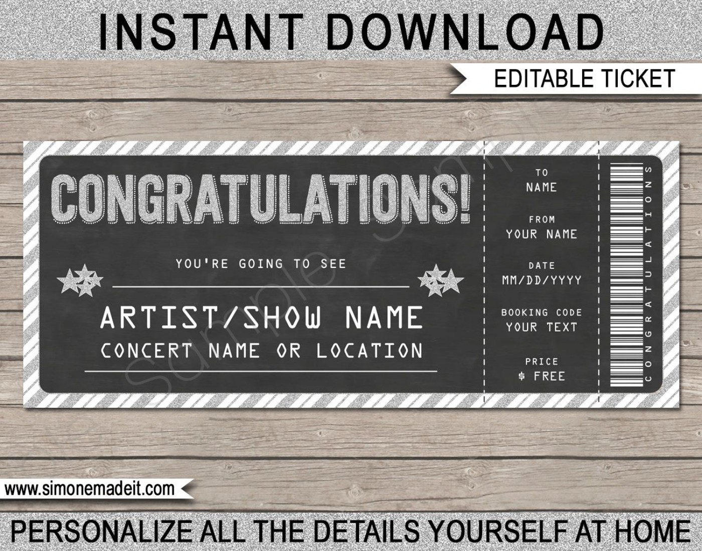 005 Incredible Editable Ticket Template Free High Resolution  Concert Word Irctc Format Download Movie1400