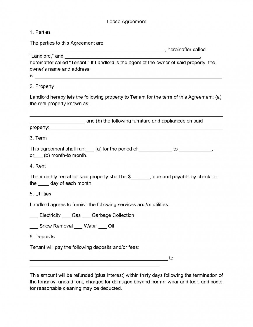 005 Incredible Free Template For Rent Agreement Image  Blank Tenancy Sample Rental Word Month To