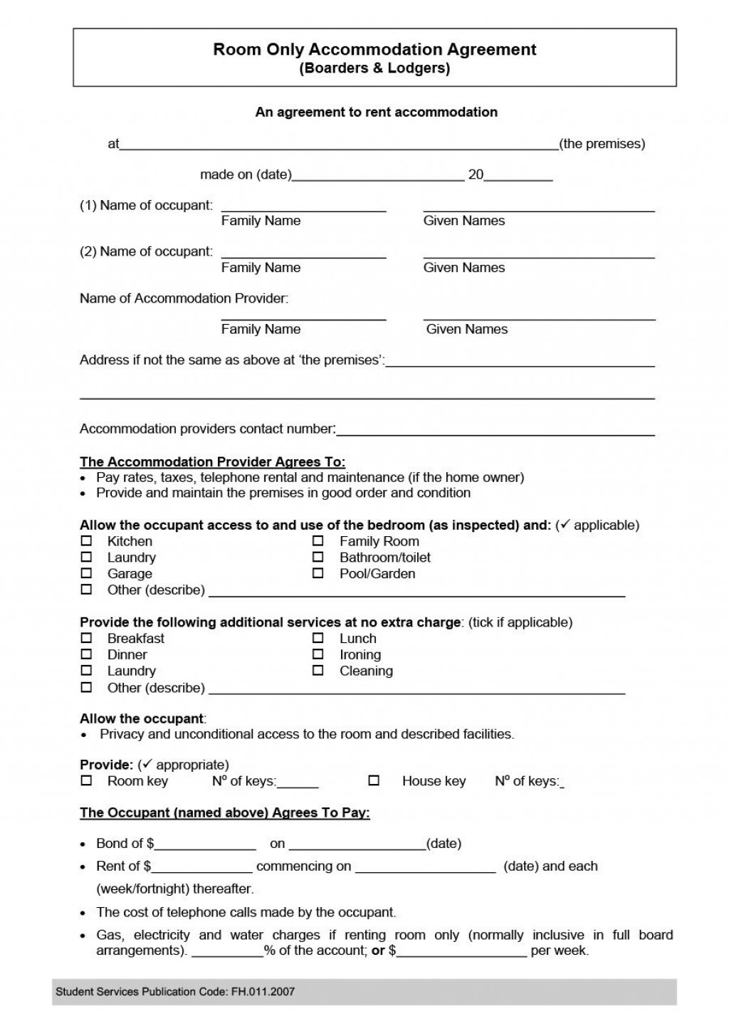 005 Incredible Generic Room Rental Agreement Free Idea  PrintableLarge