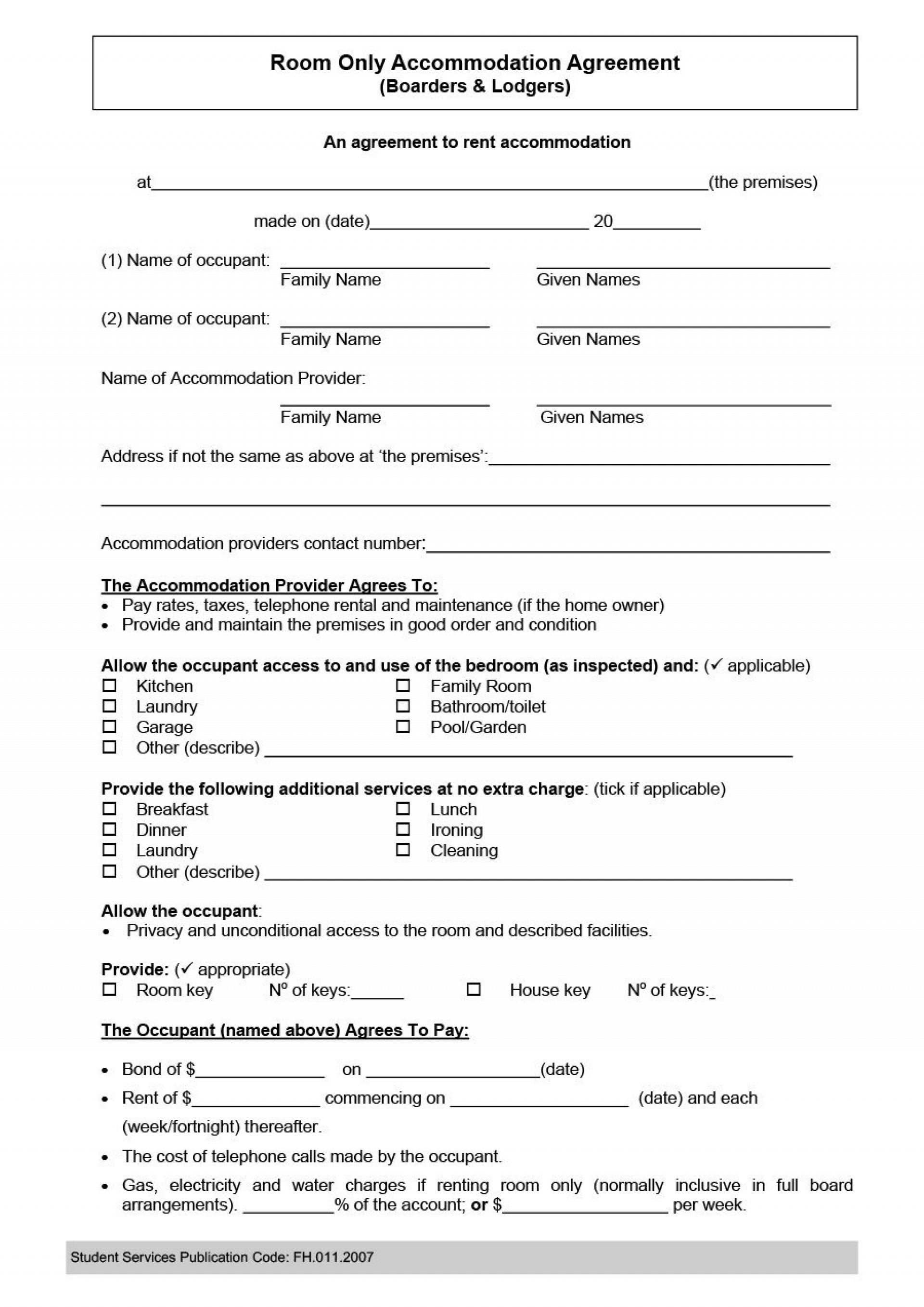 005 Incredible Generic Room Rental Agreement Free Idea  Printable1920