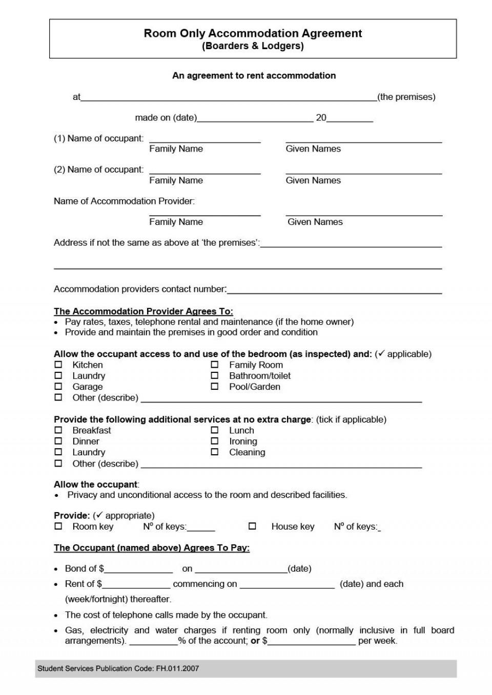 005 Incredible Generic Room Rental Agreement Free Idea  Printable960