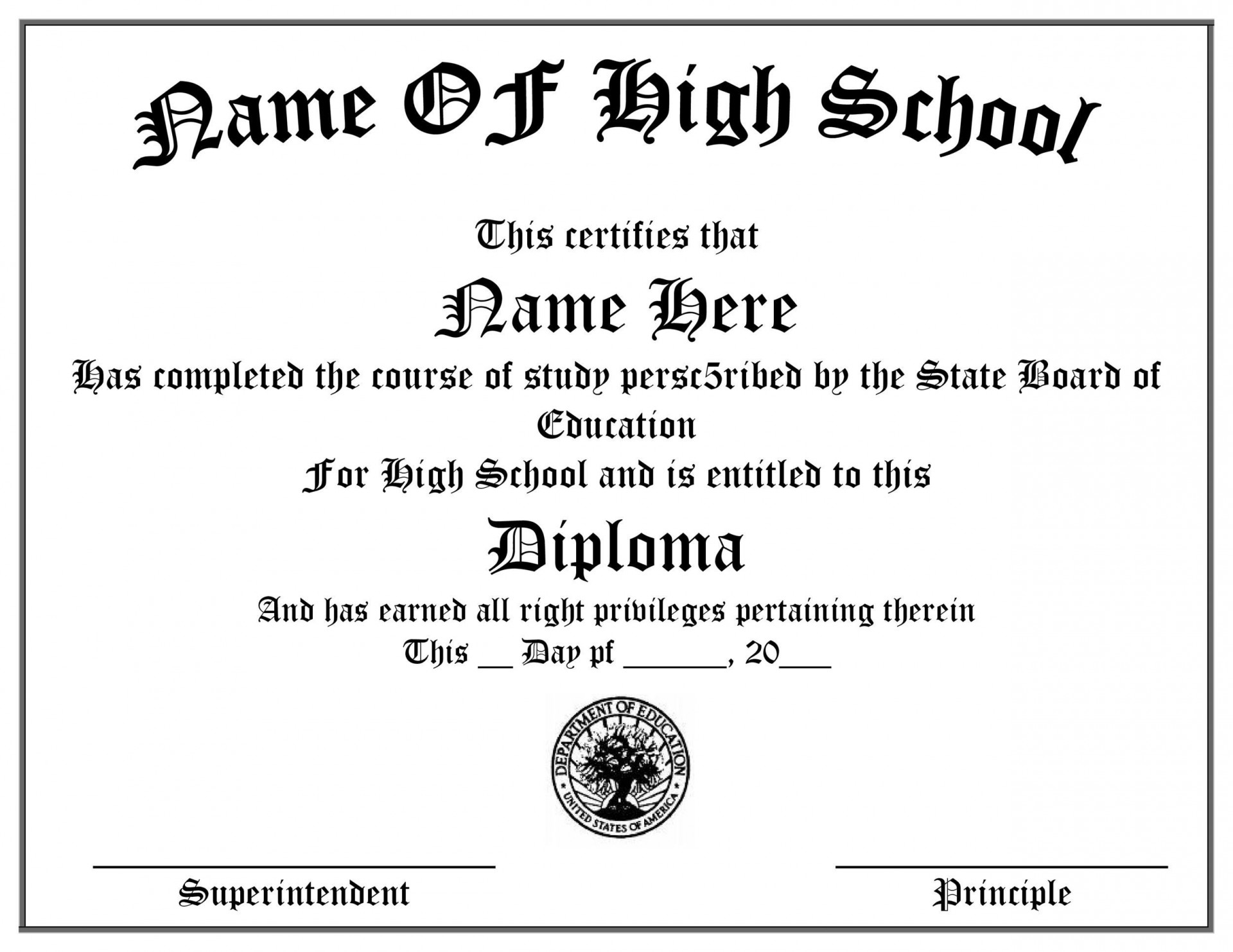 005 Incredible High School Diploma Template Definition  With Seal Homeschool Free Printable Blank1920