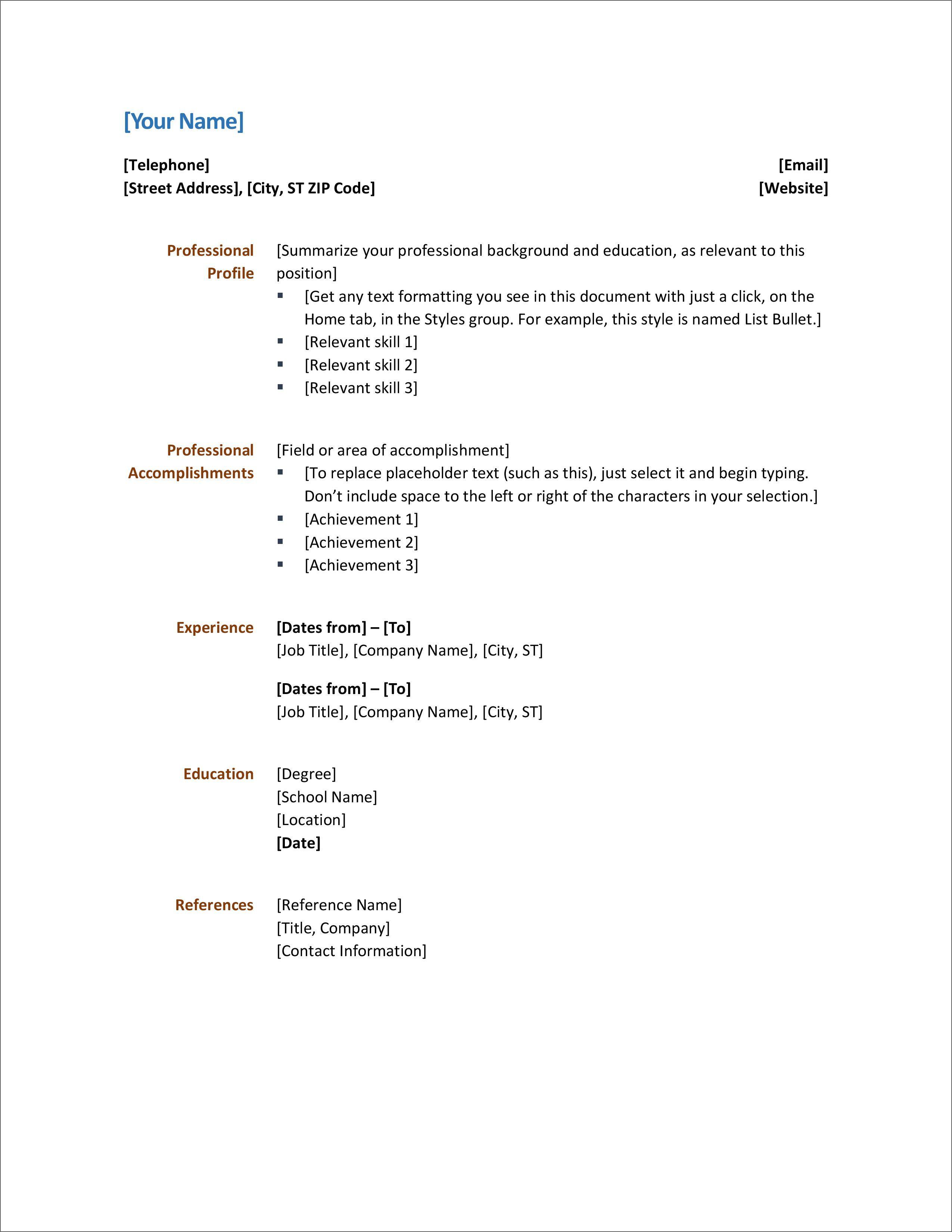 Ms Word 2020 Resume Templates Addictionary
