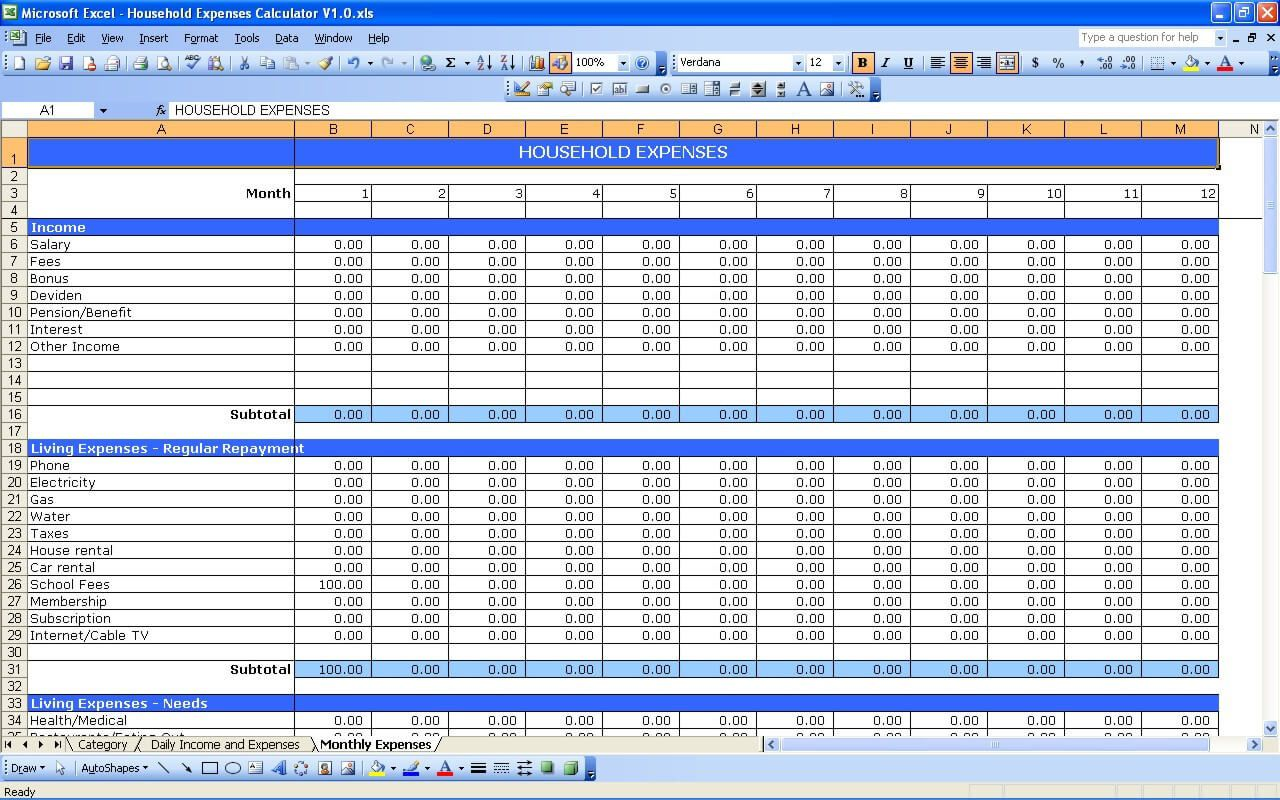 005 Incredible Personal Expense Spreadsheet Excel Template Sample  Monthly BudgetFull