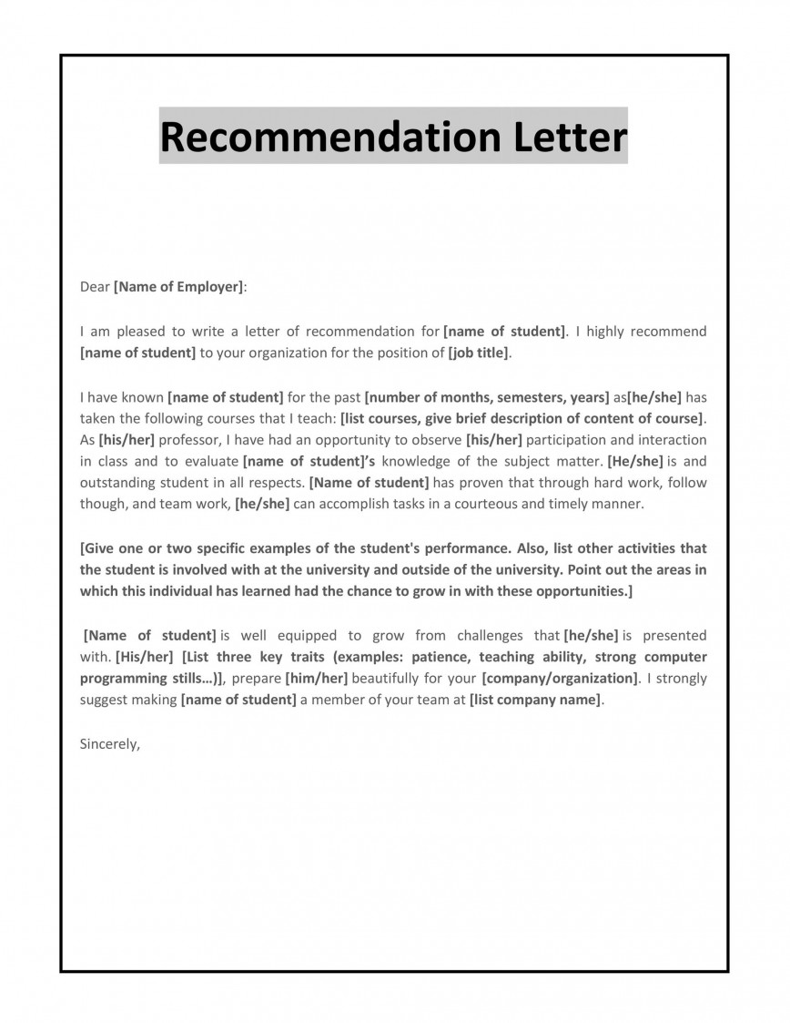 Recommendation Letter Samples For Students from www.addictionary.org
