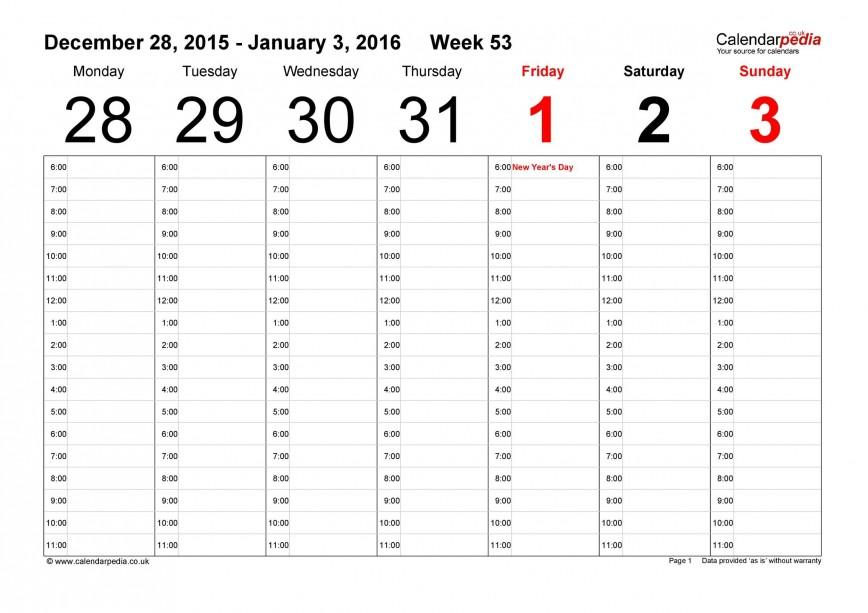005 Incredible Week Calendar Template Excel Highest Quality  Weekly Download Training Schedule 52