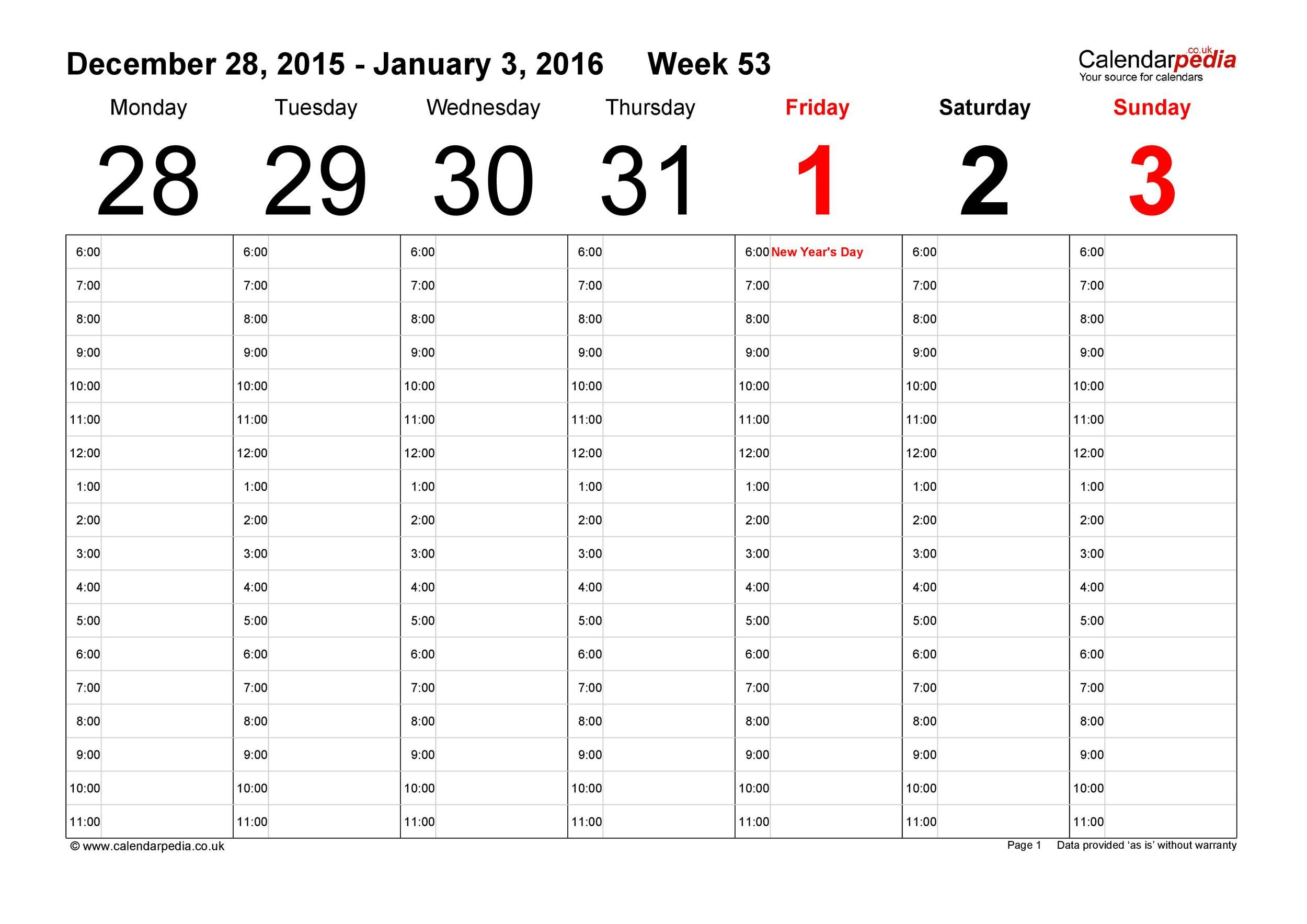 005 Incredible Week Calendar Template Excel Highest Quality  52 2019 2020 Free Weekly AppointmentFull