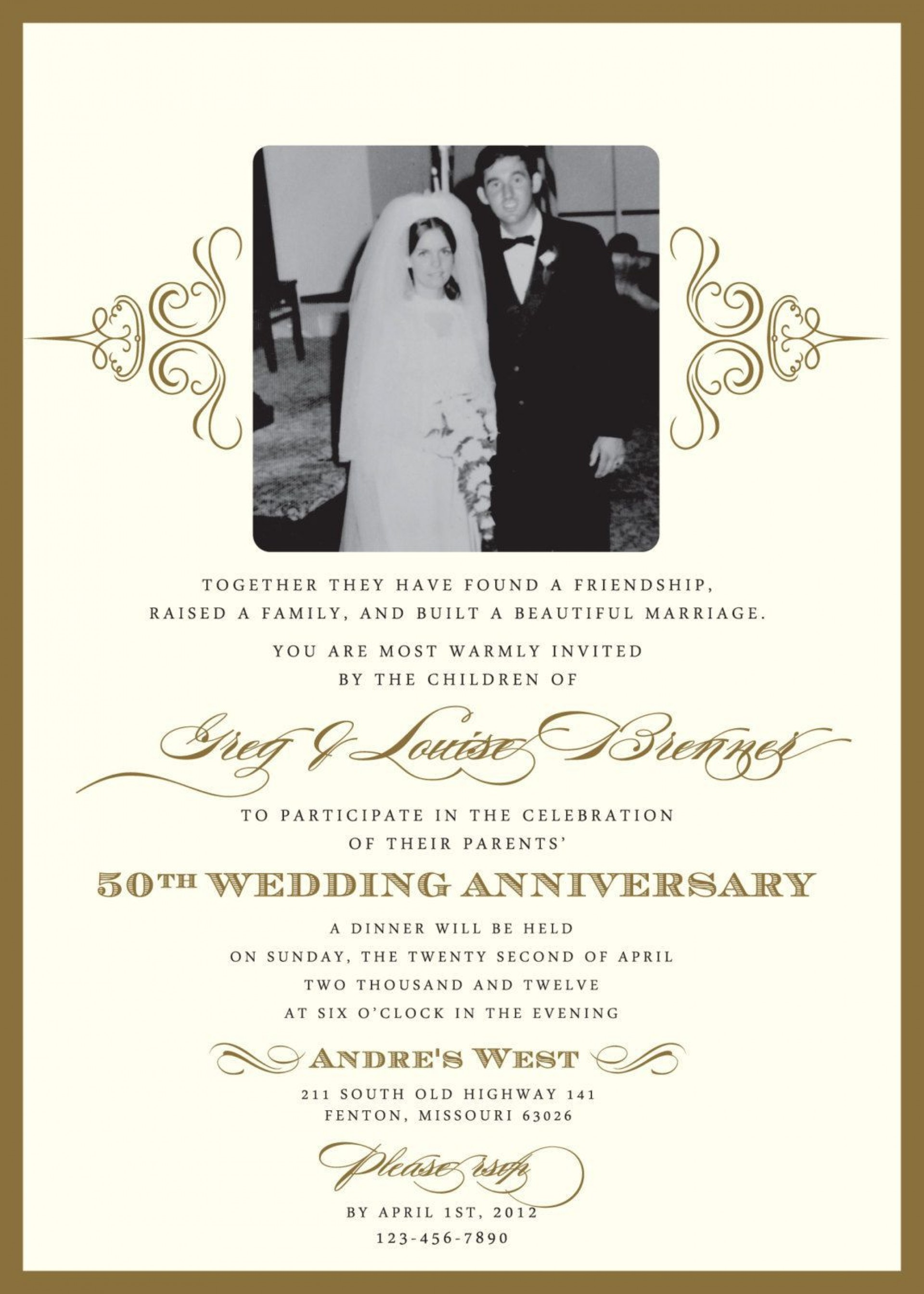 005 Magnificent 50th Wedding Anniversary Invitation Sample Picture  Samples Free Party Template Card Idea1920