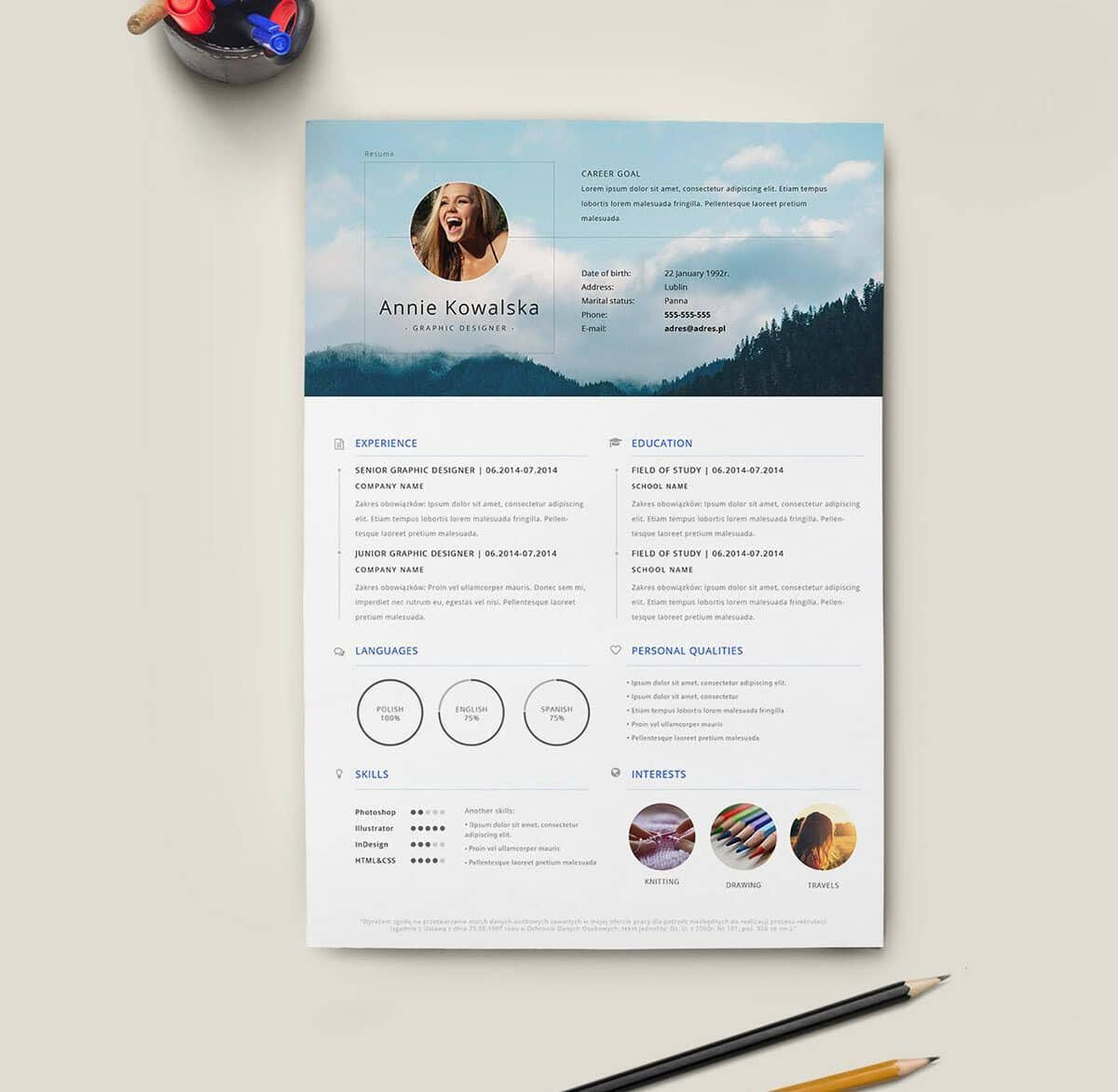 005 Magnificent Creative Resume Template Free Download Idea  For Microsoft Word Fresher Cv DocFull