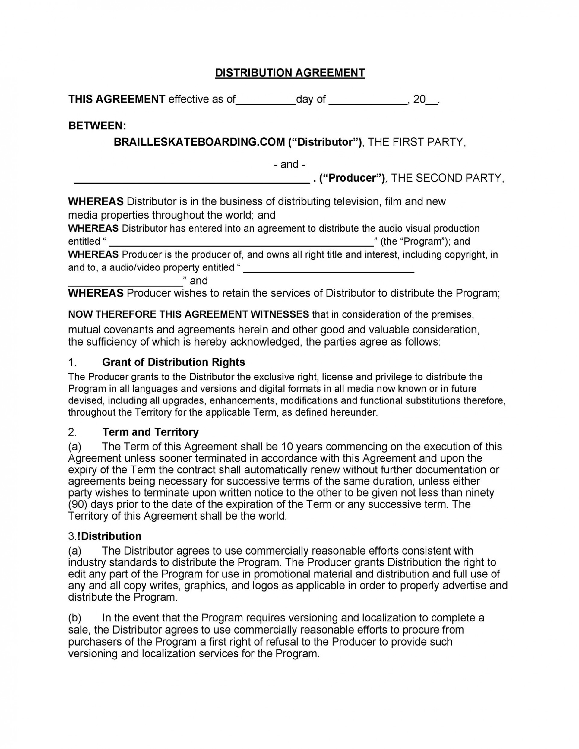 005 Magnificent Distribution Agreement Template Word High Definition  Distributor Exclusive Contract1920