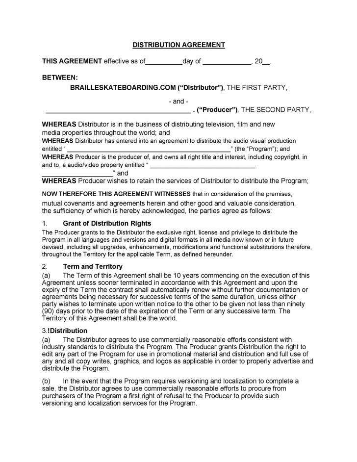 005 Magnificent Distribution Agreement Template Word High Definition  Distributor Exclusive Contract728