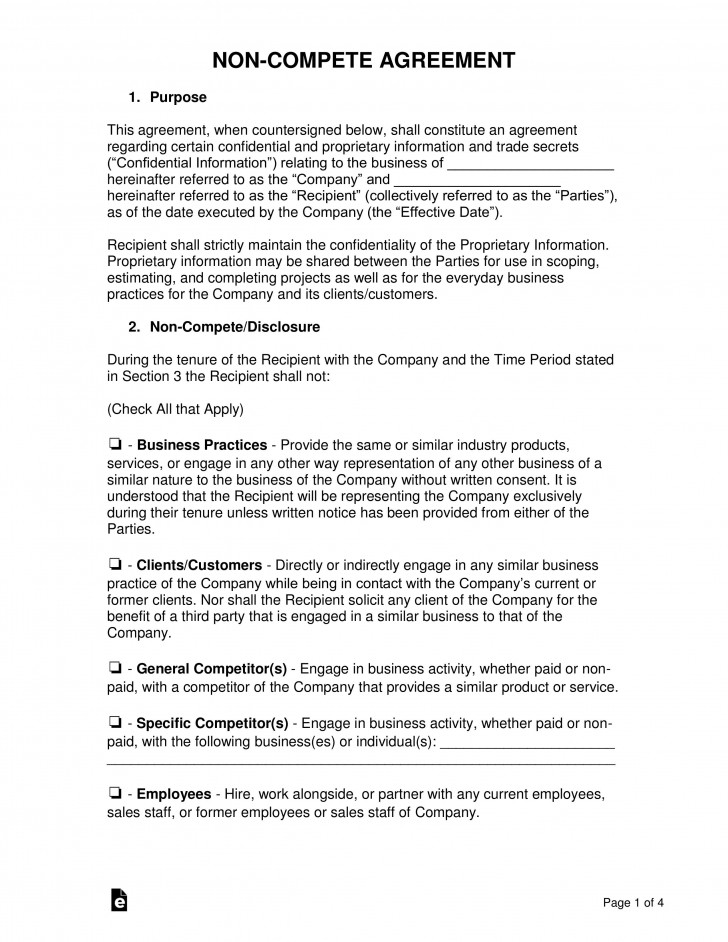 005 Magnificent Employee Non Compete Agreement Template Image  Free Confidentiality Non-compete Disclosure728
