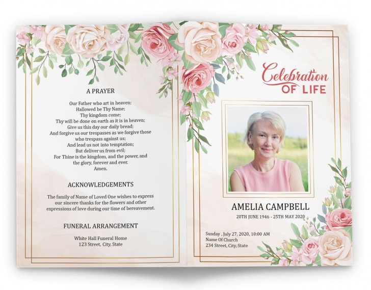 005 Magnificent Free Printable Celebration Of Life Program Template Highest Quality 728