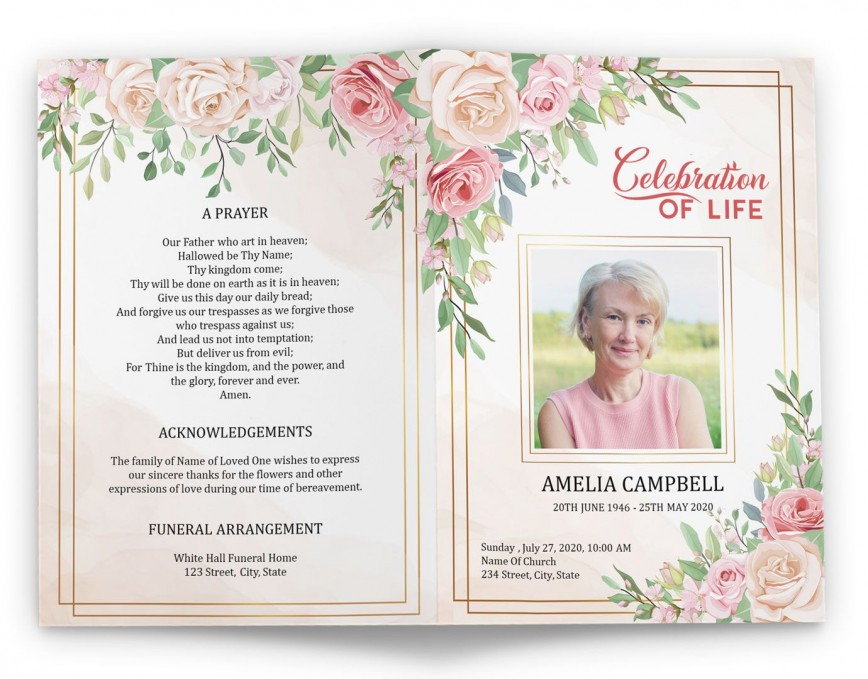 005 Magnificent Free Printable Celebration Of Life Program Template Highest Quality 868