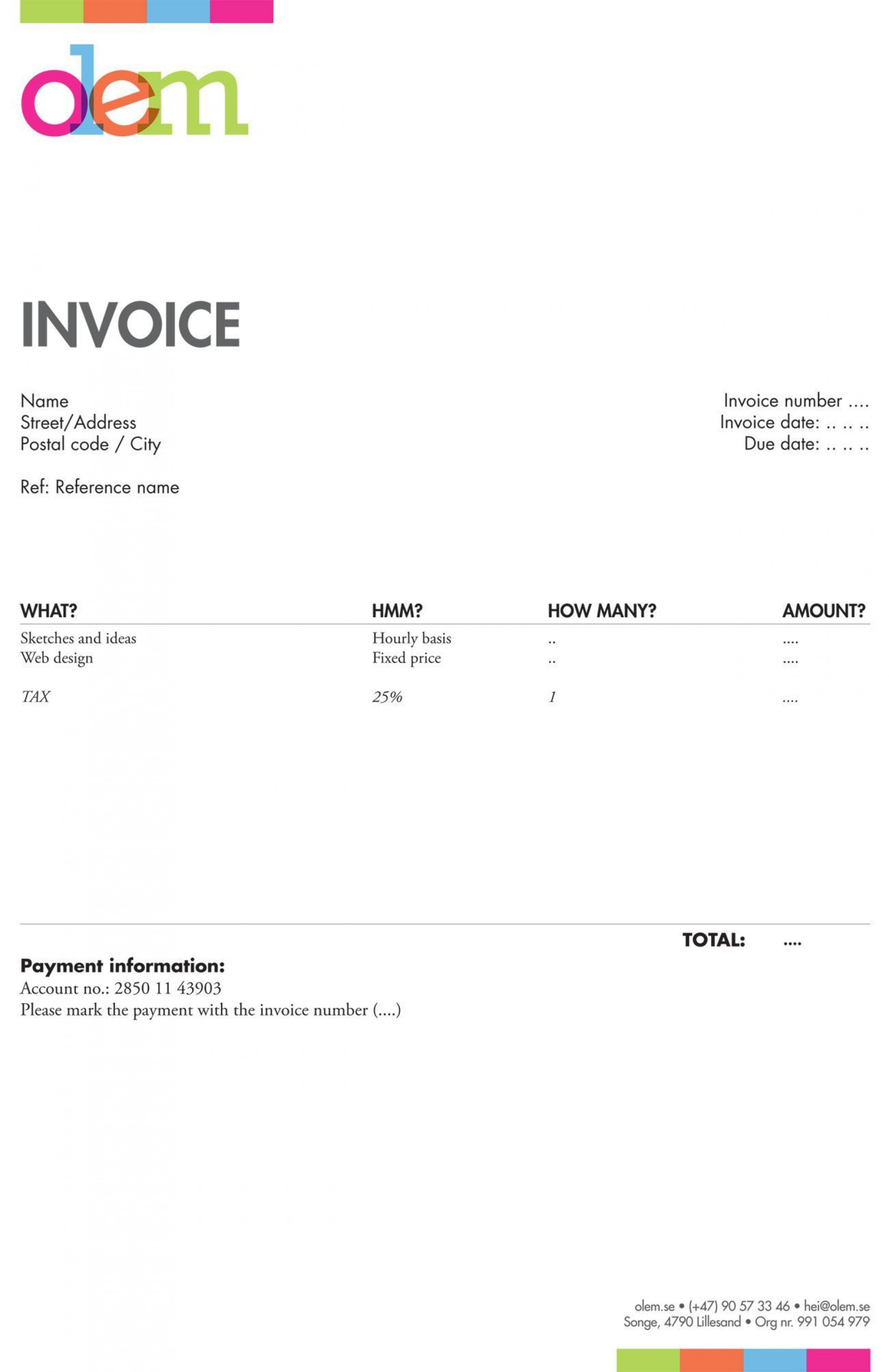 005 Magnificent Freelance Creative Invoice Template Sample  Graphic Designer Uk Simple1920