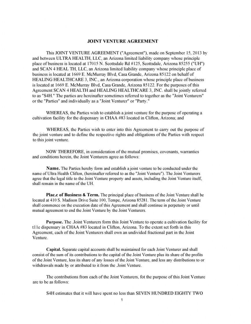 005 Magnificent Joint Venture Agreement Format Pdf Image  Template