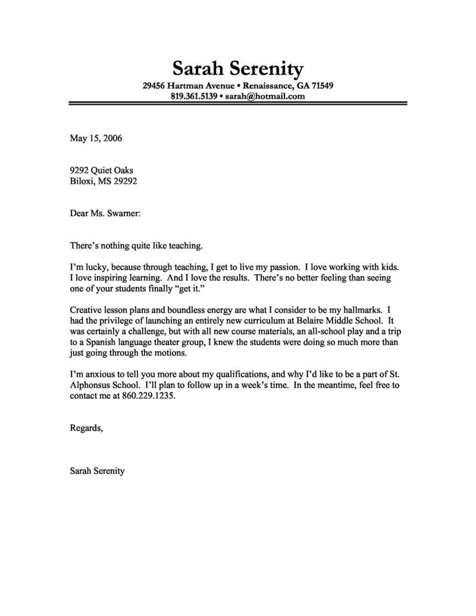 005 Magnificent Teacher Cover Letter Template Concept  Teaching Job1920