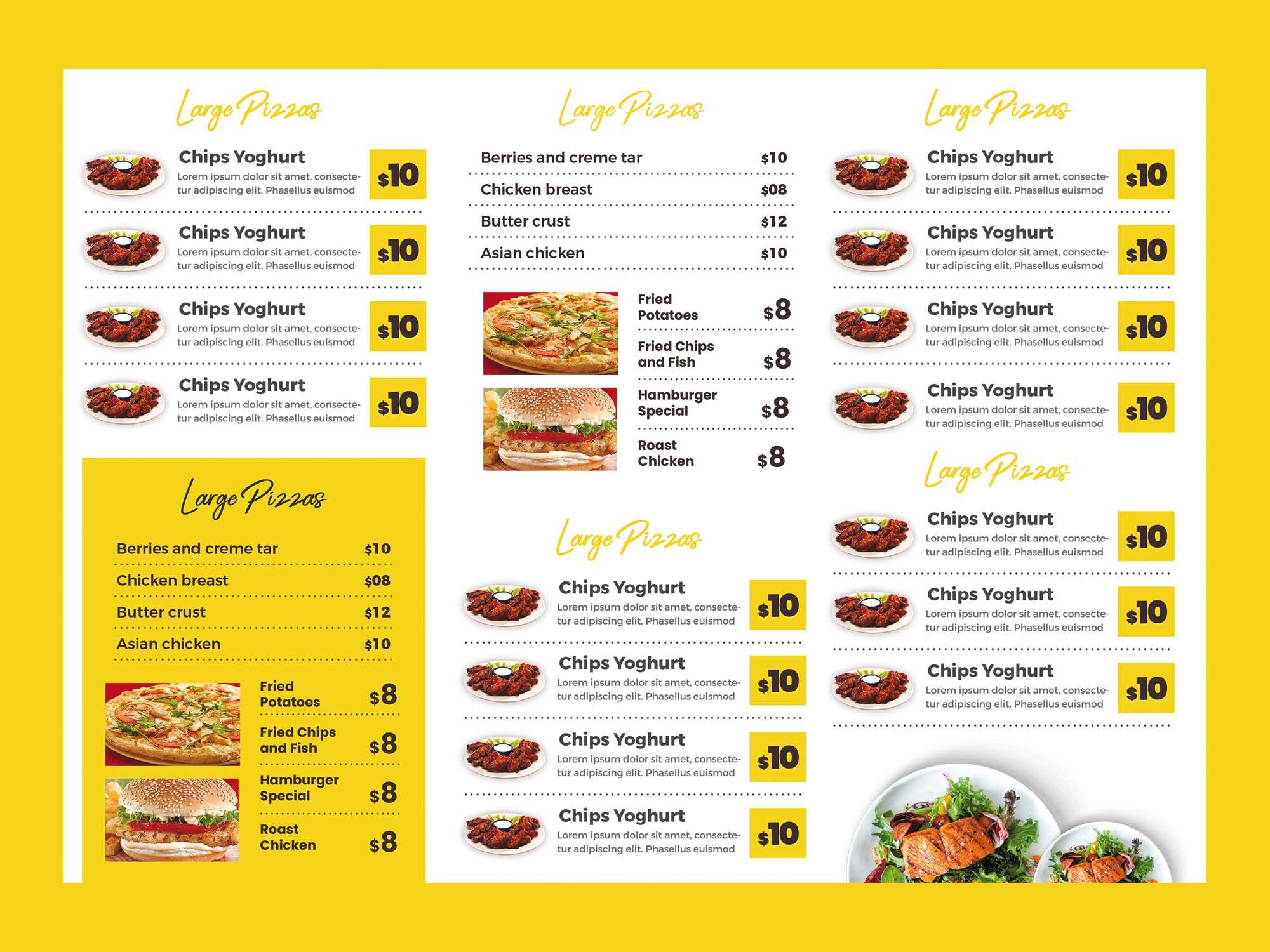 005 Magnificent Tri Fold Menu Template Photo  Templates Restaurant Tri-fold Food Free PsdFull