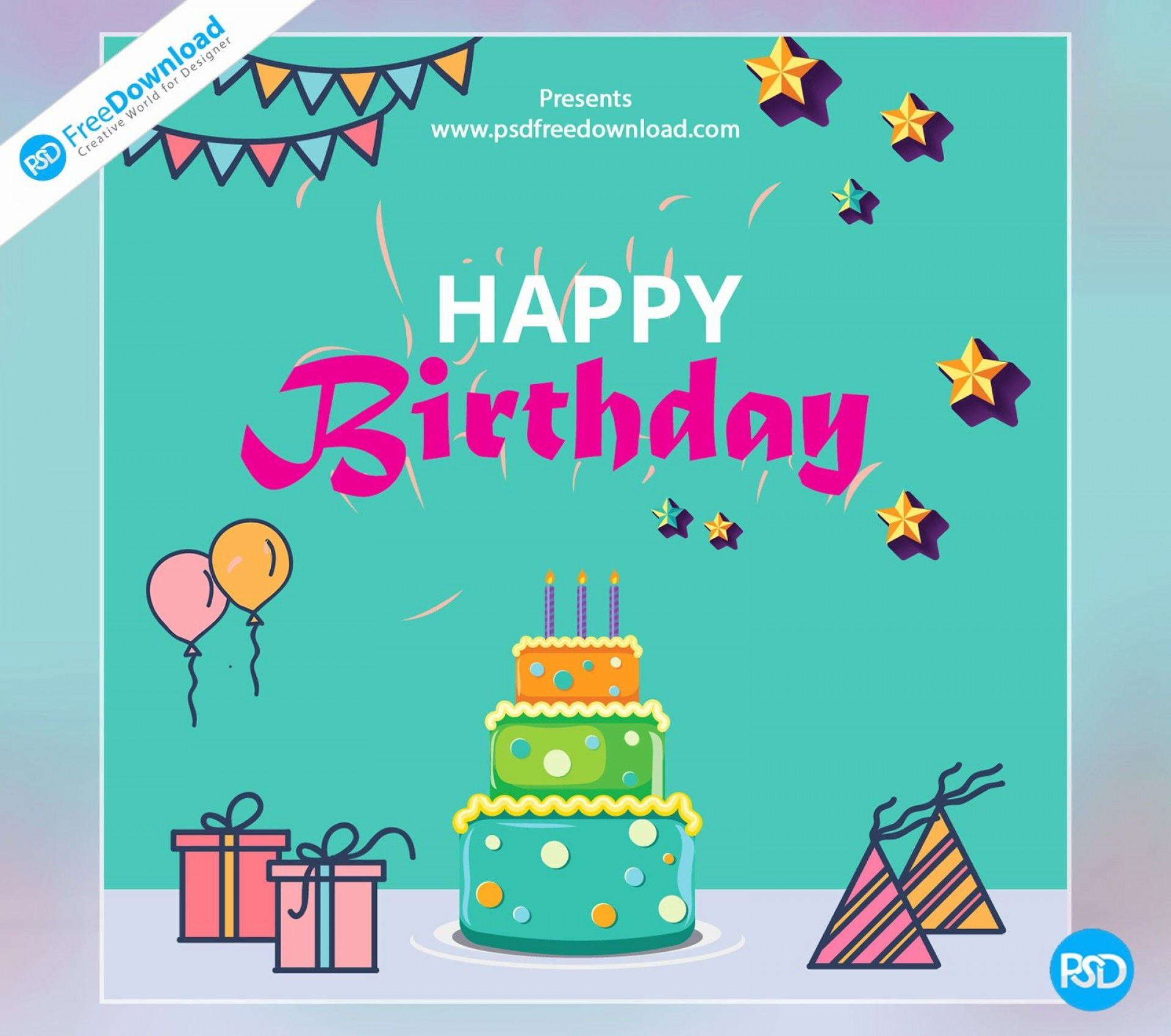 005 Marvelou Birthday Card Template Photoshop Highest Quality  Greeting Format 4x6 Free1920