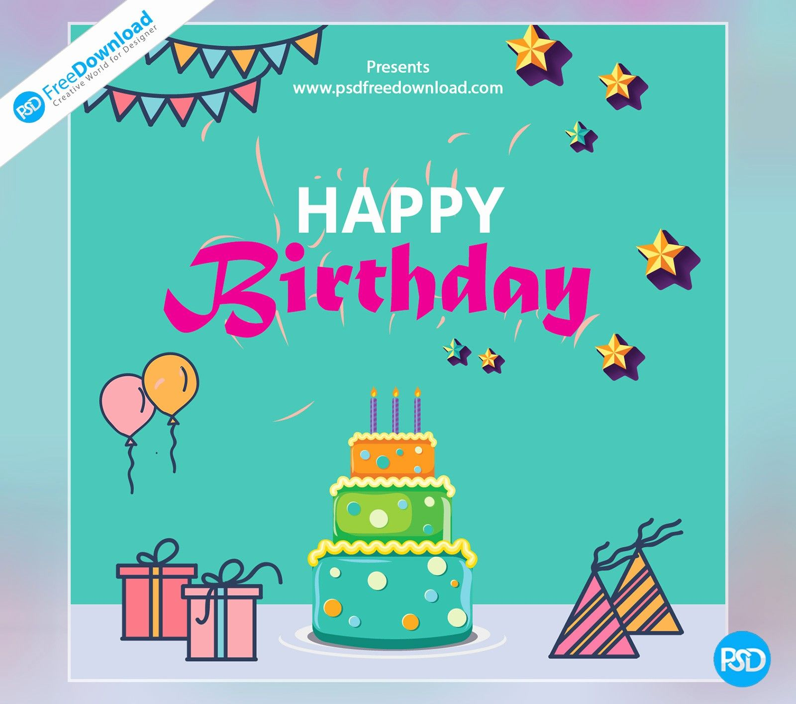 005 Marvelou Birthday Card Template Photoshop Highest Quality  Greeting Format 4x6 FreeFull