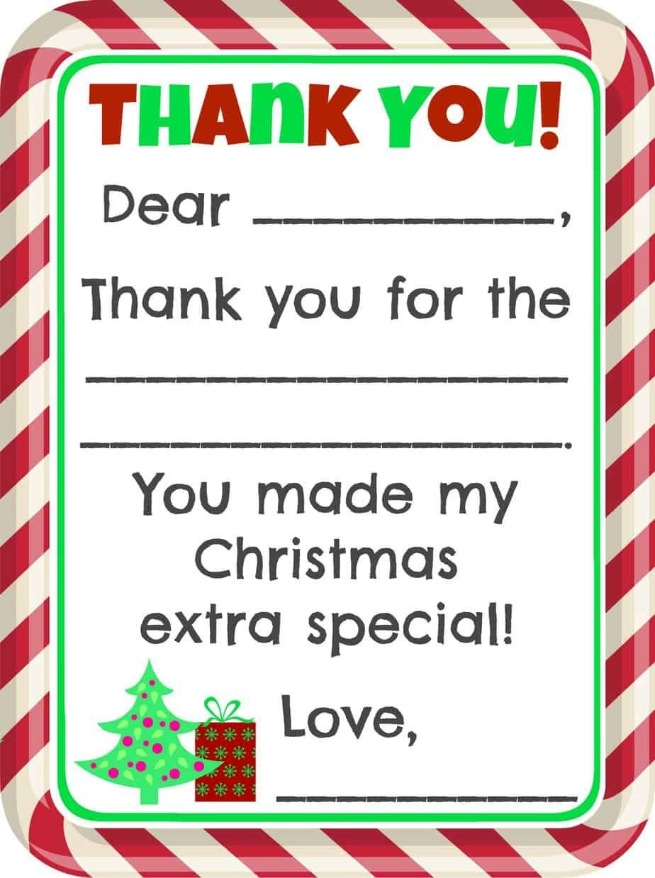 005 Marvelou Christma Thank You Note Template Free Image  Letter CardFull