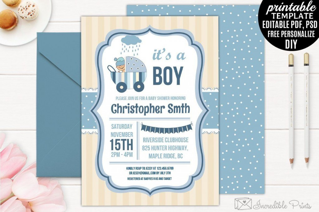 005 Marvelou Free Baby Shower Invitation Template For Boy Photo Large