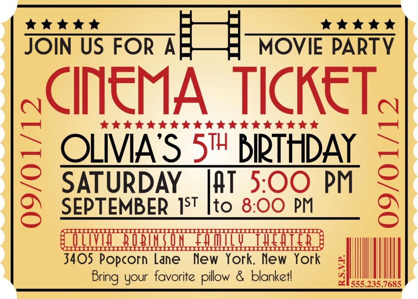 005 Marvelou Free Printable Movie Ticket Birthday Party Invitation Example 1400
