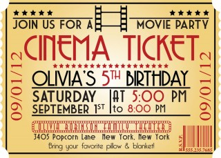 005 Marvelou Free Printable Movie Ticket Birthday Party Invitation Example 320